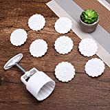 KINGSO Mooncake Mould Moon Cake Decoration Mold with 8pcs Flower Stamps Baking DIY Tool Round