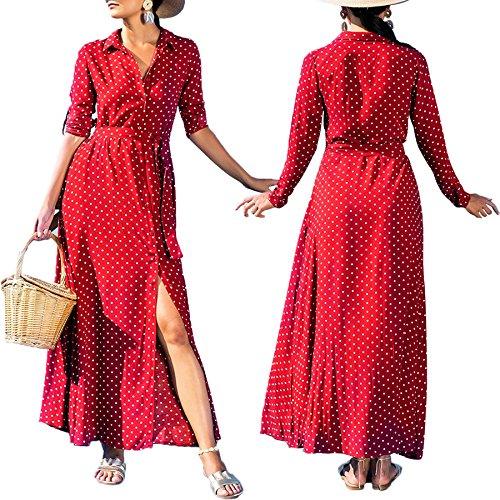 Chemise Soire Pois L M S XL Longues La Rouge Robe de Polka Manches Cheville Robe FIYOTE EOBqvqY