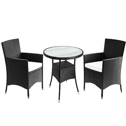 Balkontisch Stühle.Amazon De Deuba Poly Rattan Balkonset Sitzgruppe Schwarz 3