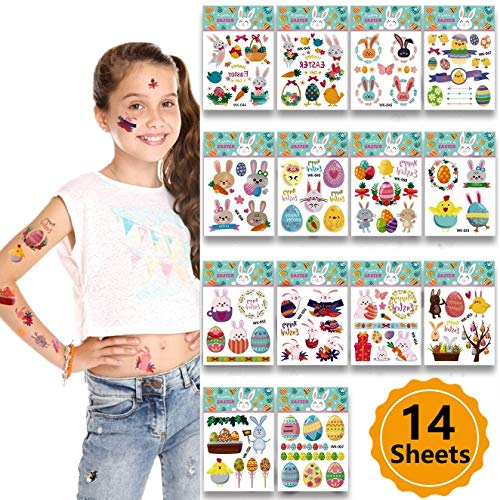 14 Sheets Easter Decoration DIY Easter Rabbit Egg Basket Children Tattoo Sticker Kids Party Decoration Gift Favor]()