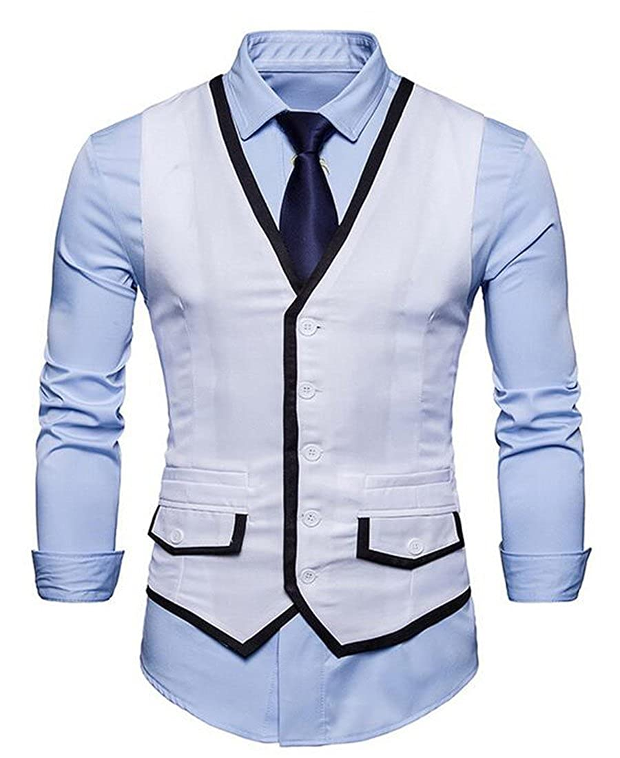 MOUTEN Mens Casual Business Single Breasted Slim Contrast Dress Suit Vest Waistcoat