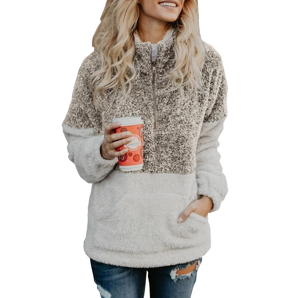 Yebeau Women Long Sleeve Sherpa Zipper Sweatshirt Soft Fleece Pullover Outwear Coat with Pockets Top