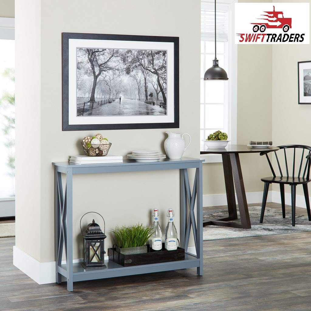 Cranesbill X-Base Console Table is Valuable Counter-Space for Your Decor Items with Handsaver Gloves Included (Grey)