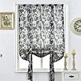 Cheap NAPEARL Jacquard Tie Up Balloon Curtain for Small Winow (55″ Wx63 L, Gray)
