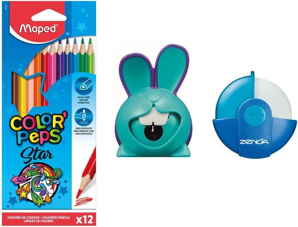 Maped - Kit de coloración con 12 lápices de colores + goma Zenoa azul + sacapuntas de croc conejo azul: Amazon.es: Oficina y papelería