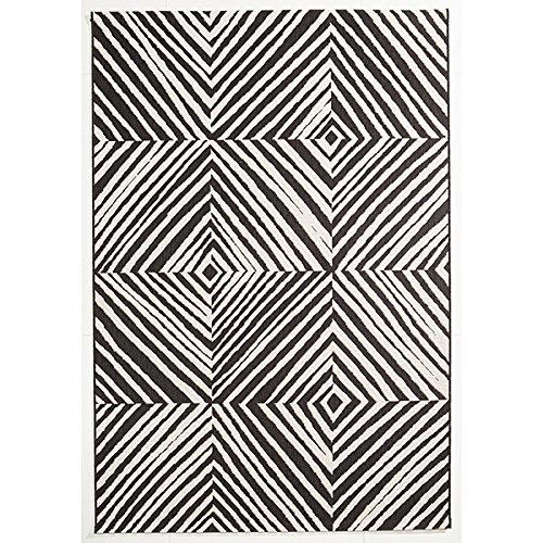 Flachgewebe Teppich Zebra - Raute schwarz 120 x 170 cm