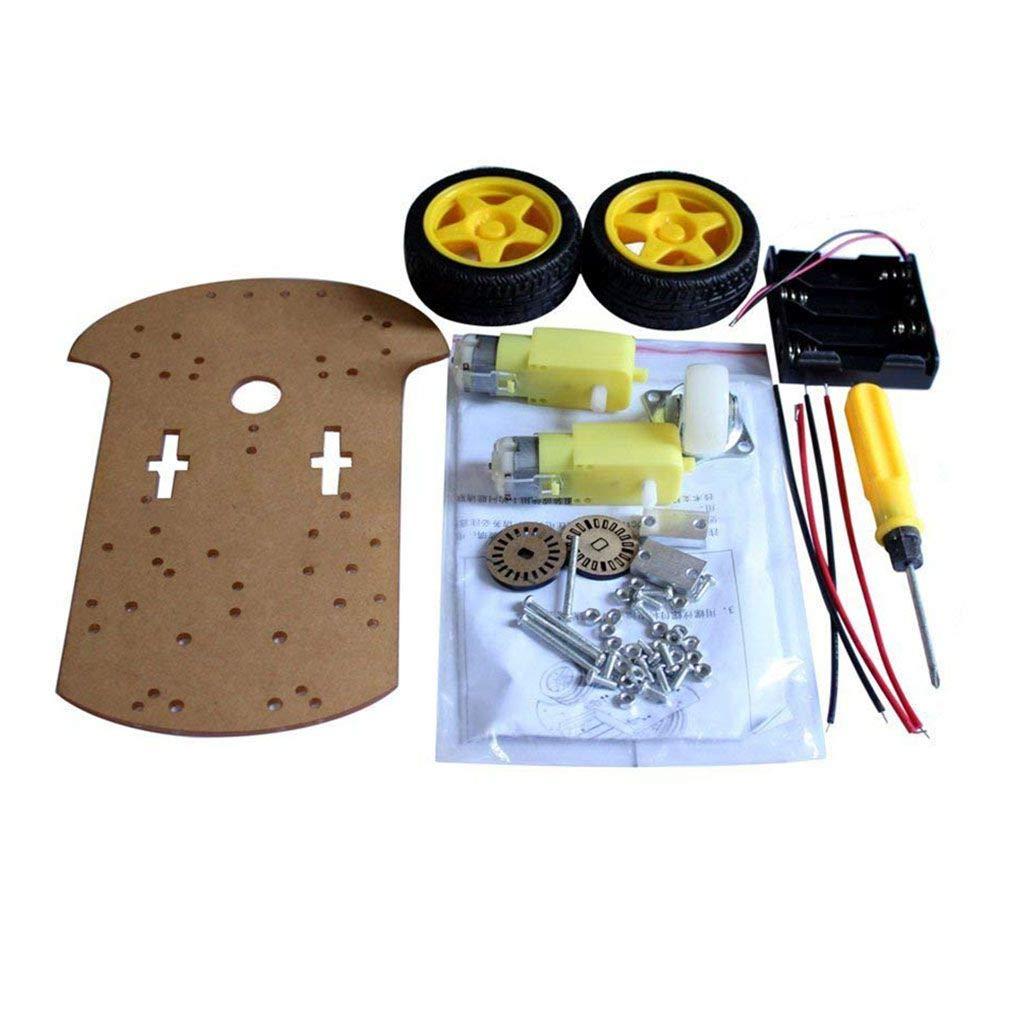 Topker Kit Box prá ctica Inteligente del Robot del chasis del Coche codificador de la Velocidad de baterí a Universal del Sistema de Rueda Compatible para Arduino