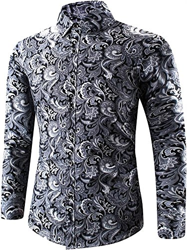 HENGAO Men's Long Sleeves Fashion Paisley Cashew Floral Print Casual Dress Shirt, Black, US L/42 = Tag (Mens Paisley)