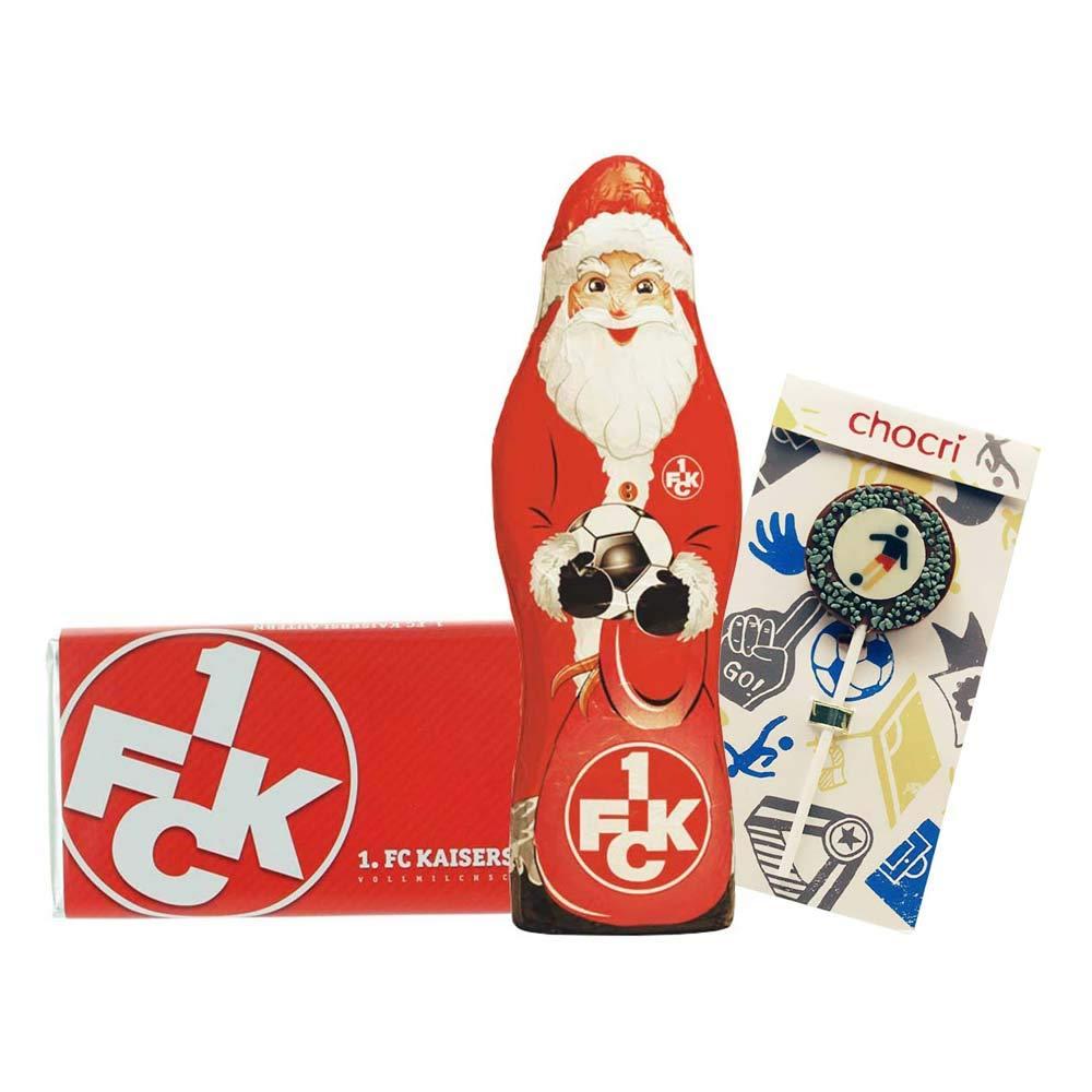 Nikolaus Bundle mit Weihnachtsmann Kleines Weihnachts-Schoko-Fanpaket + Fussball-Schoko-Lolly Nervennahrung von chocri Hamburger SV 22 g und Schoko-Tafel aus Fairtrade-Kakao 250 g