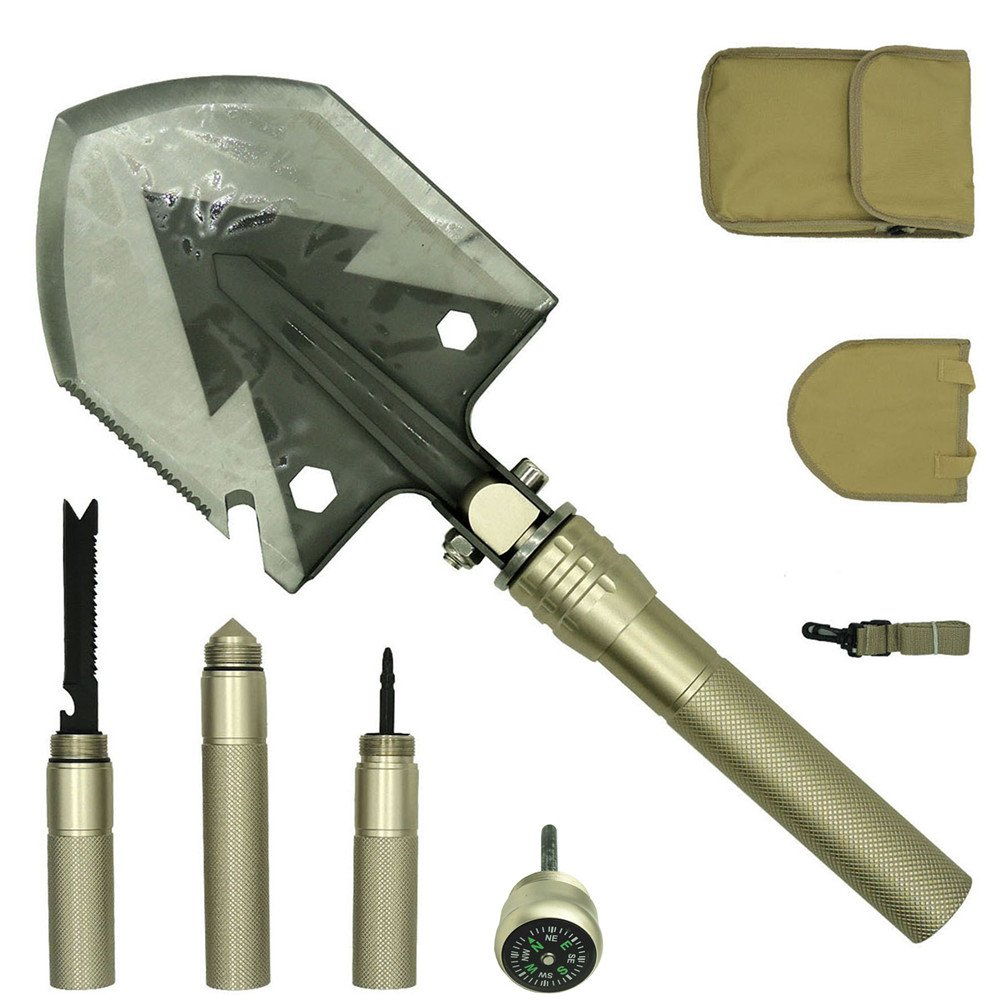 PEYOND Multi-Function Folding Shovel for Camping/Adventure/Hiking/Trench Shovel/Survival Etc