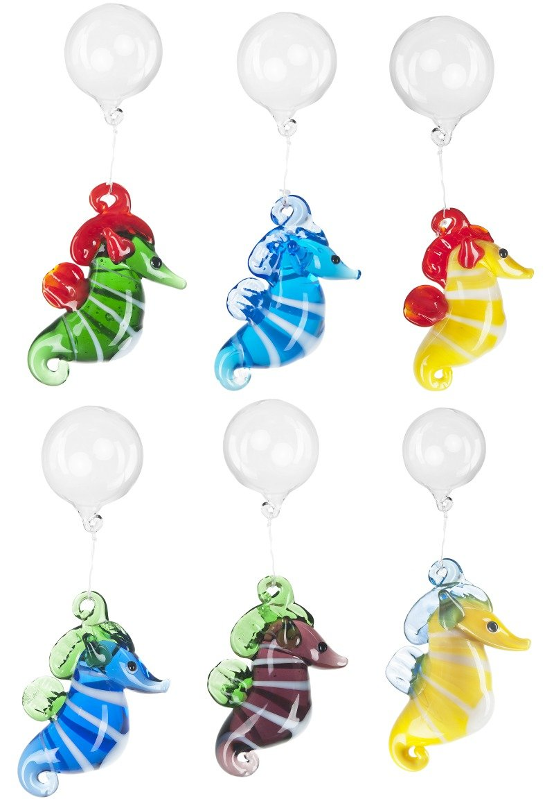 Colorful Floating Glass Aquarium Seahorse Charms by Ganz - Six Pack