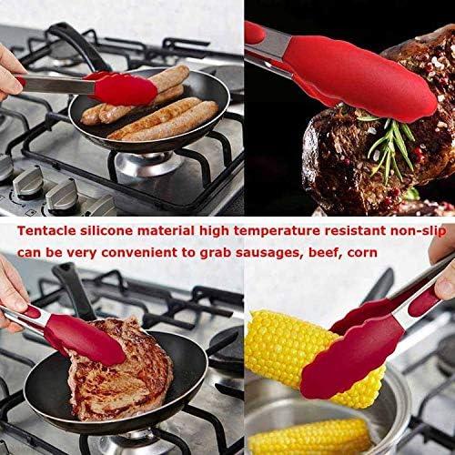 N/B WWTTE 9 Pouces Silicone Anti-dérapant Nourriture Pain Barbecue Barbecue Clip tenailles Outils de Cuisine (Noir) R (Color : Red) Black