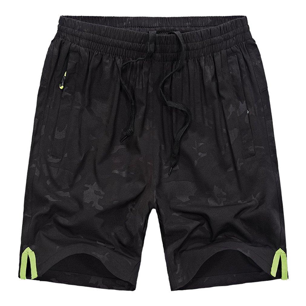 daqinghjxg Plus Size Summer Men Clothing Camouflage Print Fashion Elastic Waist Big Shorts Black L