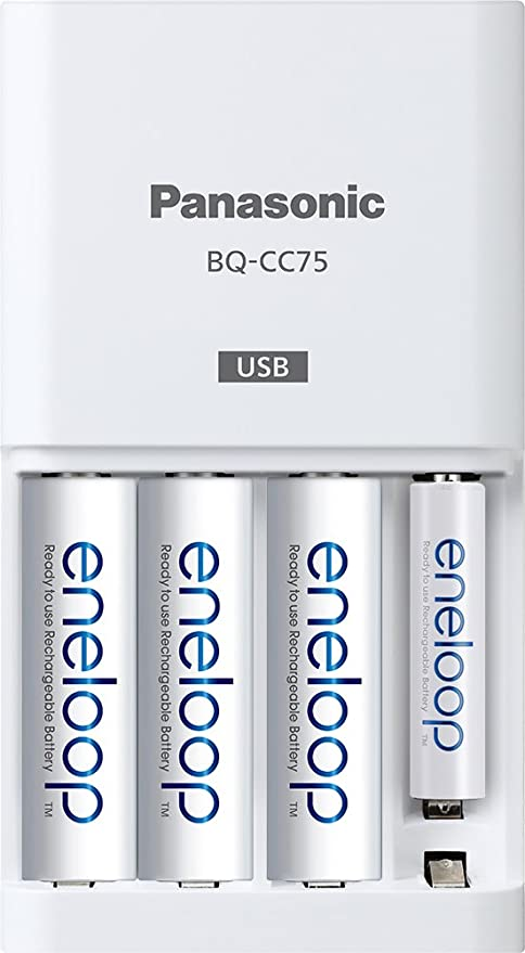Panasonic BQ-CC75ASBA eneloop Individual Battery Charger with USB Charging Port, White
