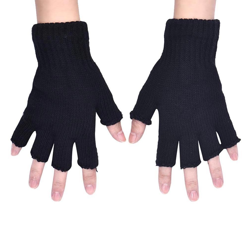 Gloves,toraway Men Knitted Stretch Elastic Half Finger Fingerless Gloves