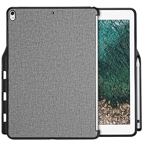 ProCase iPad Pro 12.9 2017/2015 Companion Back Cover Case, with Apple Pencil Holder for iPad Pro 12.9 Inch (Both 2017 and 2015 Models), Match for Apple Smart Keyboard and Smart Cover –Grey