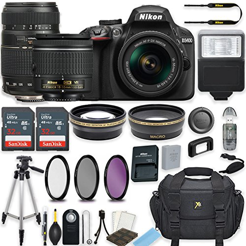 Nikon D3400 24.2 MP DSLR Camera (Black) w/AF-P DX NIKKOR 18-55mm f/3.5-5.6G VR Lens & Tamron 70-300mm f/4-5.6 Di LD Lens Bundle includes 64GB Memory + Filters + Deluxe Bag + Accessories