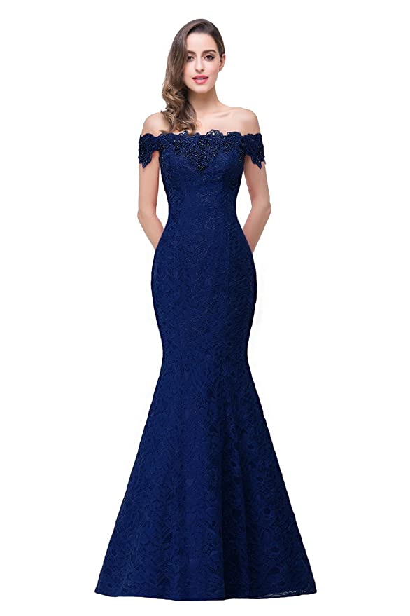 Amazon.com: HUAN Ladies Off Shoulder Ball Gown Wedding/Mermaid/Crystal Beading/Evening Dress/Lace Dress/Formal Evening Party Dress (Color : Purple, ...