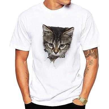 Kuiduo Fashion Mens Clothing White 3D Cat Print Short-Sleeved Mens T-Shirt Mens