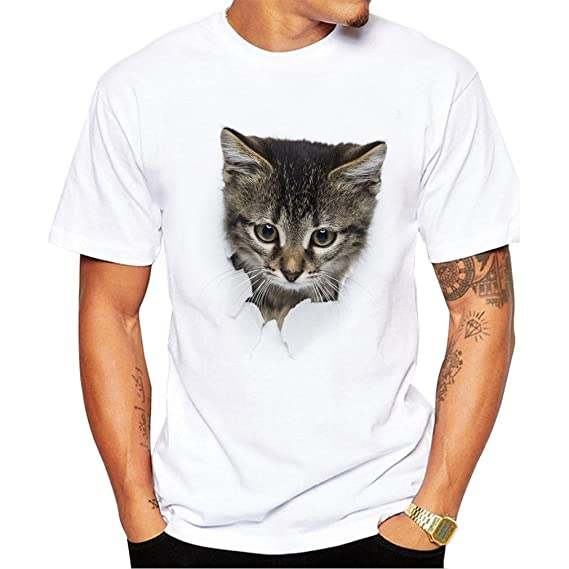 DALAI Warm White 3D Cat Print Short-Sleeved Mens T-Shirt at Amazon Mens Clothing store: