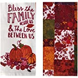 Thanksgiving Fall Kitchen Dish Towels - Pumpkin Harvest Leaves - Premium Hand Tea Towels - Set of 2