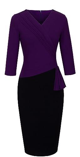 HOMEYEE - Vestito da ufficio da donna, elegante, scollo a V