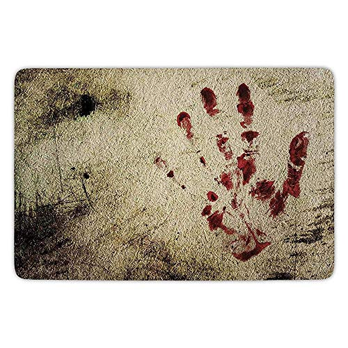 K0k2t0 Bathroom Bath Rug Kitchen Floor Mat Carpet,Horror House Decor,Grunge Dirty Wall with Bloody Hand Print Murky Palm Trace Victim Violence,Red Beige,Flannel Microfiber Non-Slip Soft Absorbent