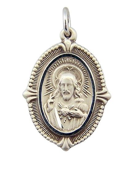 Amazon.com: Plata de ley Sagrado Corazón de Cristo Medalla ...