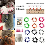#4: Cat Nail Caps 120PCS Soft Rubber Pet Paws Claws Nail Covers 6 Colors with Glue and Applicators, Options of 4 Size (M)