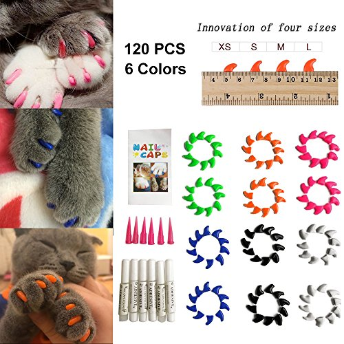 Cat Nail Caps 120PCS Soft Rubber Pet Paws Claws Nail Covers 6 Colors with Glue and Applicators, Options of 4 Size (M)