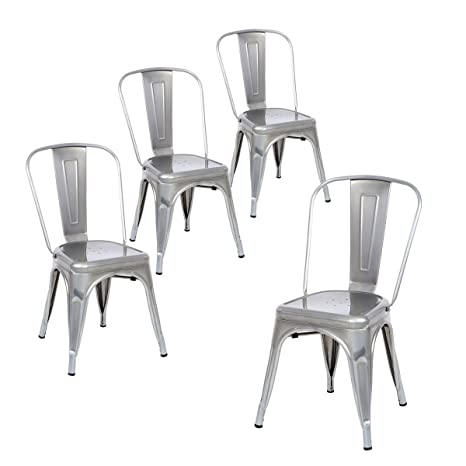 Strange Buschman Set Of Four Gray Metal Indoor Outdoor Stackable Chairs With Back Gmtry Best Dining Table And Chair Ideas Images Gmtryco