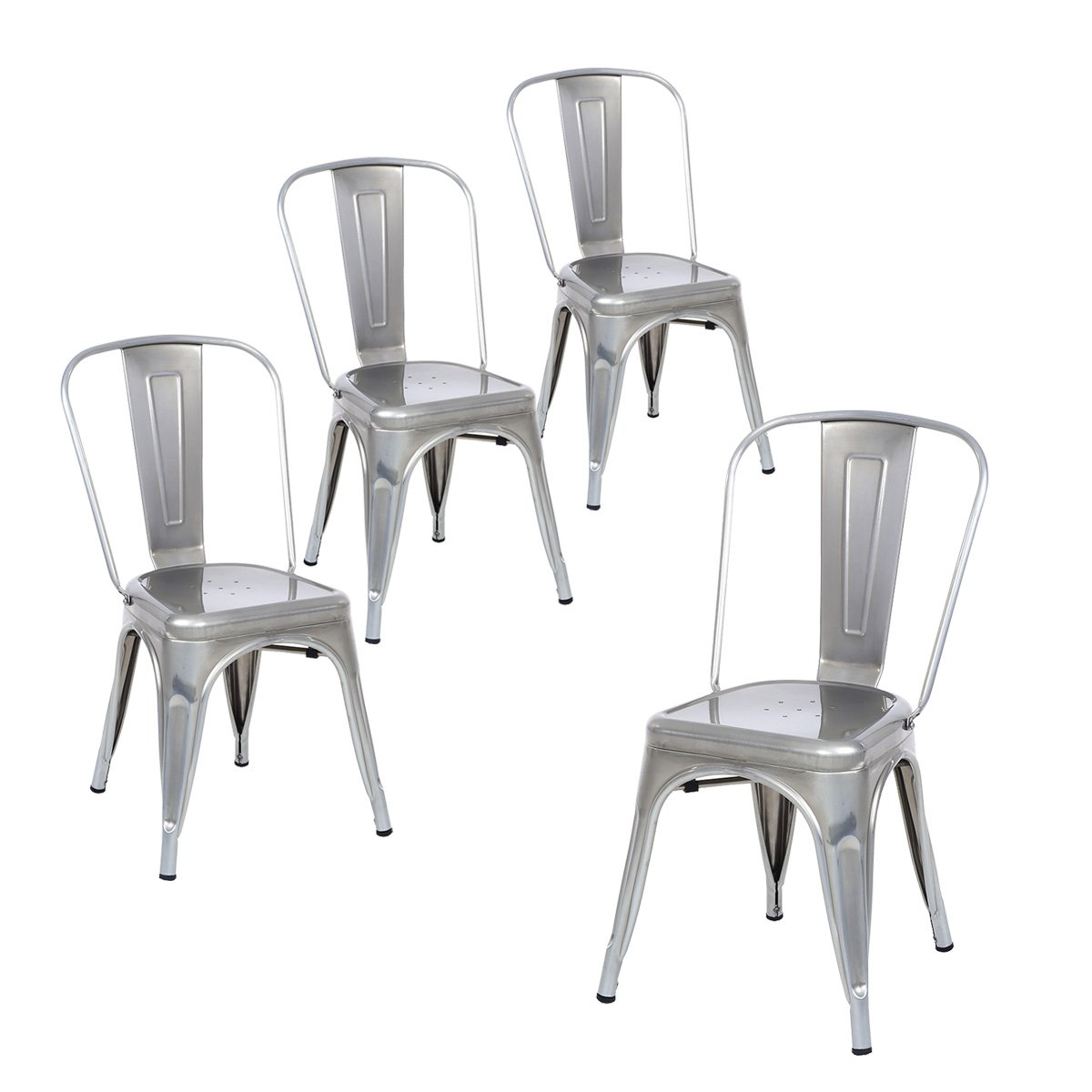 Buschman Set of Four Gray Metal Indoor/Outdoor Stackable Chairs with Back