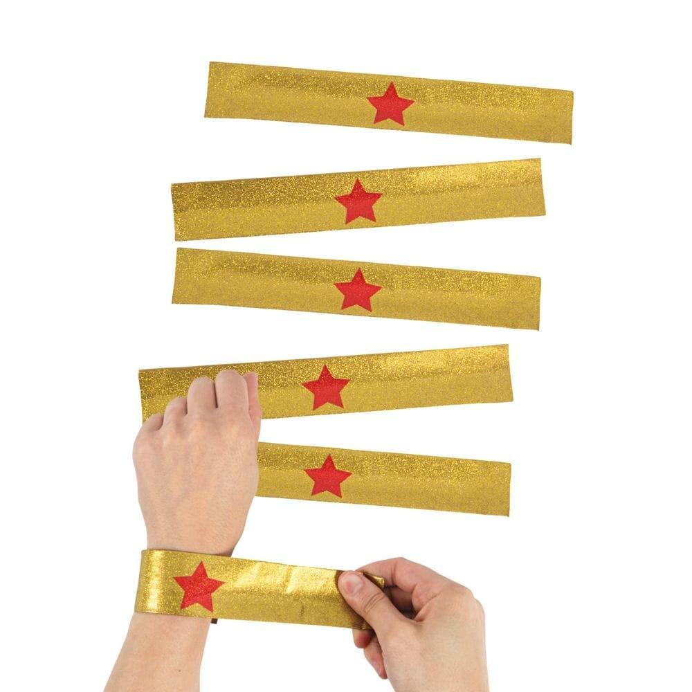 Fun Express Gold Superhero Slap Bracelets - 12 pcs by Party Supplies by Fun Express