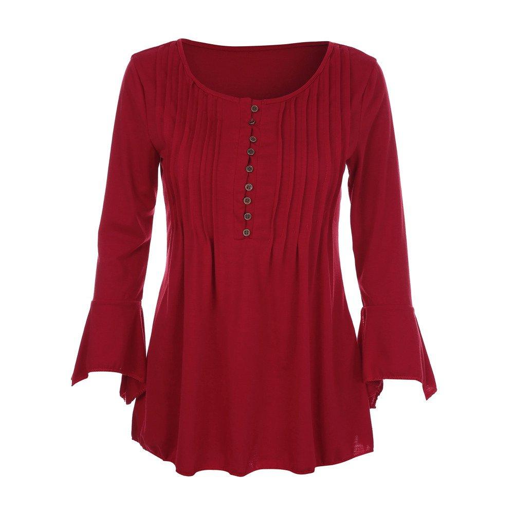 KaiCran Sweatshirt For Women Flare 3/4 Sleeve V Neck Buttons Blouse Tops Ladies T-Shirt Tunic Tops (Wine, XXXXLarge)