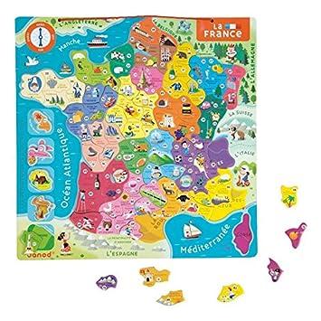 Janod - J05486 - Puzzle France Magnétique 93 pcs