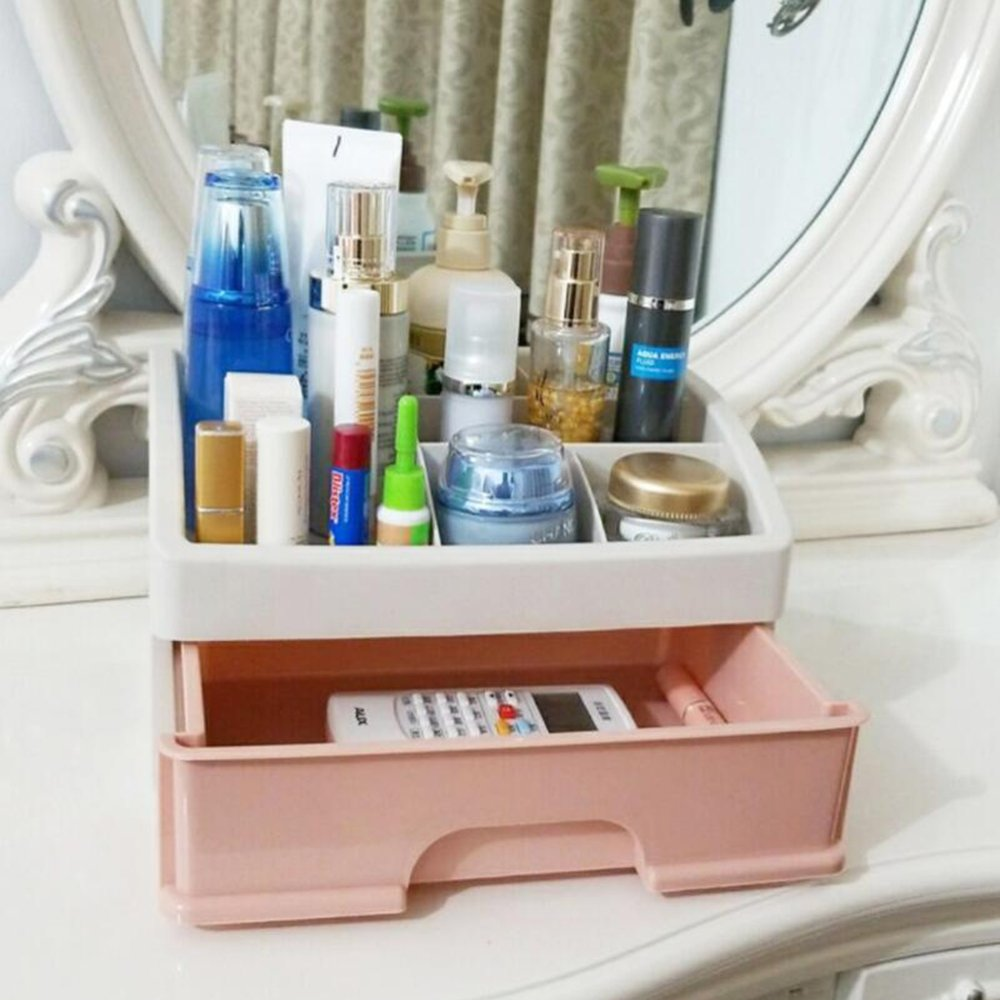 Zzaini Acrylic Makeup Organizers, Stackable Multi-function With Drawers Storage Box Desk Supplies-U 27.5x19.5x17cm