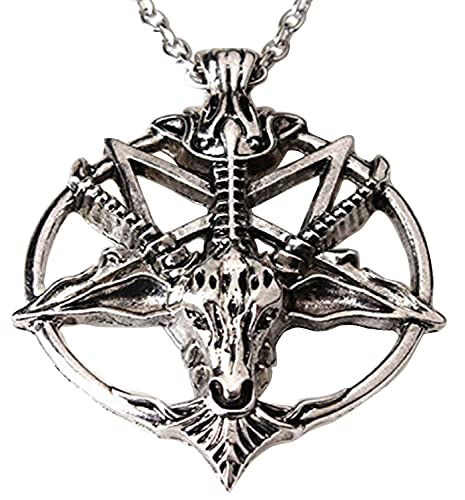 Tfsm inverted pentagram sabbatic goat head pendant necklace baphomet tfsm inverted pentagram sabbatic goat head pendant necklace baphomet laveyan lavey satainism aloadofball