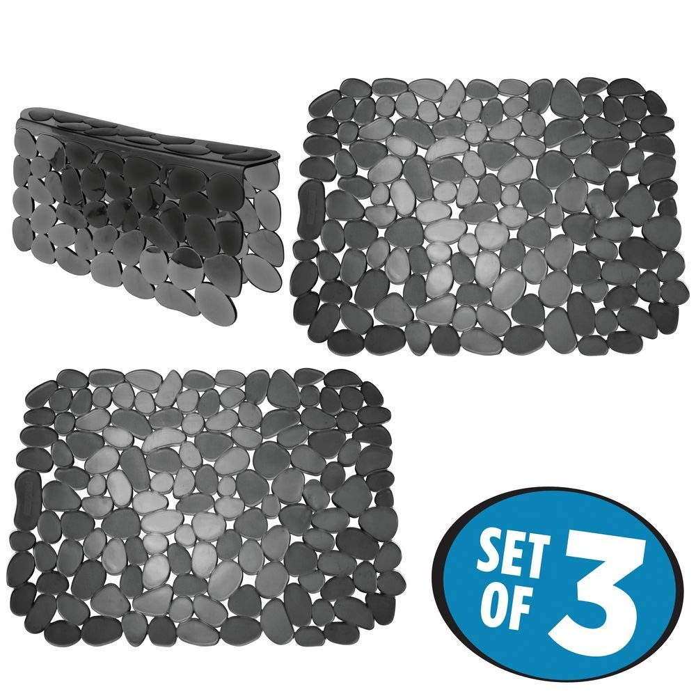 mDesign Adjustable Kitchen Sink Dish Drying Mat/Grid - Soft Plastic Sink Protector, Cushions Sinks, Dishes - Quick Draining Pebble Design - Includes 1 Saddle, 2 Large Mats - Set of 3 - Black by mDesign (Image #2)