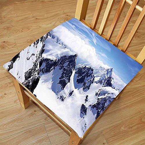 Nalahome Set of 2 Waterproof Cozy Seat Protector Cushion Winter Decor Snowy Mountain Peaks Tops High Lands Northern Scenic Alps Panorama Valley White Blue Printing Size 22x22inch
