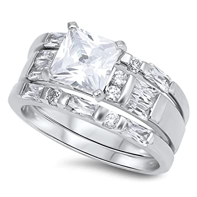 Amazon 8mm sterling silver princess cut double wedding band 8mm sterling silver princess cut double wedding band wedding set sizes 5 10 5 junglespirit Images