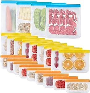 22 Pack Reusable Food Storage Bags Gallon Freezer Bags Reusable Sandwich Bag Reusable Snack Bags Food Grade BPA Free PEVA Leakproof Reusable Lunch Bags