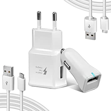 Axmda [4 in 1] 3 ft/4ft Cable Micro USB 2.0 + Cargador de Pared + Cargador de Coche, Carga Rápida para Android, Samsung Galaxy, Huawei, Kindle, HTC, ...