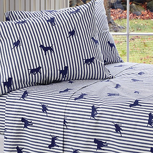 Orvis Labs and Stripes Sheet Set, Duvet Cover, and Sham/Twin Sheet Set, Navy Stripe, - Orvis Pillow