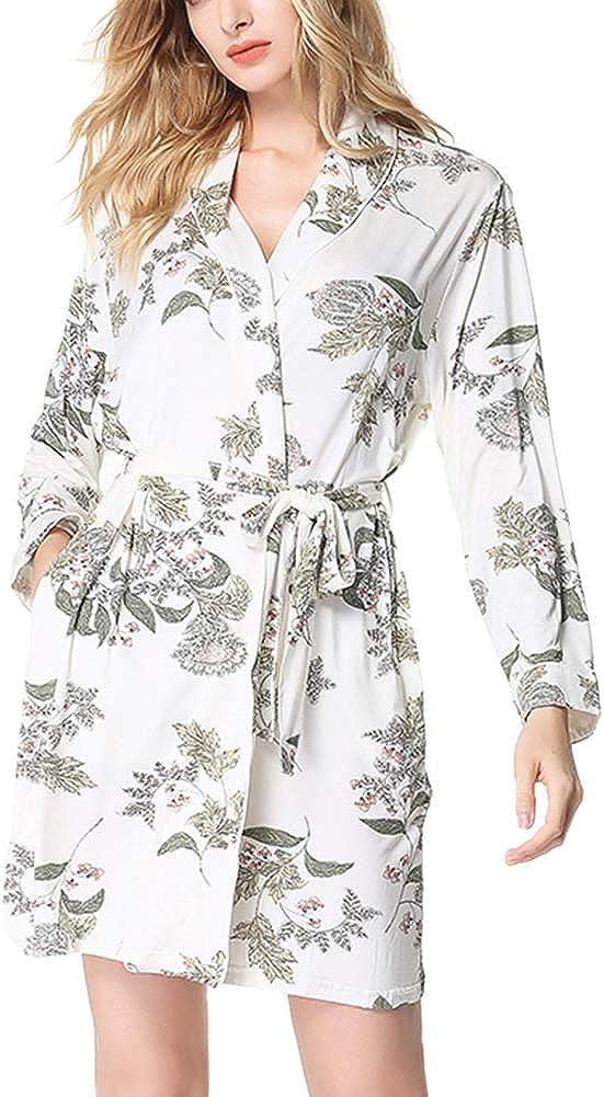 rismart Vestaglie Donna Cotone Pigiama Maniche Lunghe Kimono da Notte Scollo a V Camice da Notte S-XL