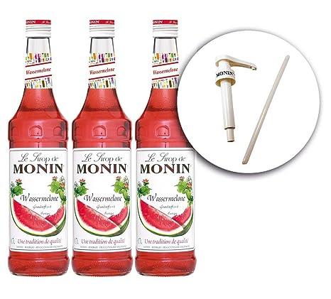 Monin WASSERMELONE-Sirup 0,7 l + Le Sirop de Monin Original Siruppumpe für 0,7 l Flaschen (3)