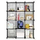 KOUSI Wire Cube Storage Metal Shelving Unit Bookcase DIY Closet Organization System, 12 Grids Black