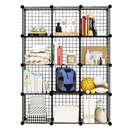 12 Storage Cubes by COSYHOME, 12 Wire Grids Cube Closet Organizer Shelf Cabinet Bookcase Black