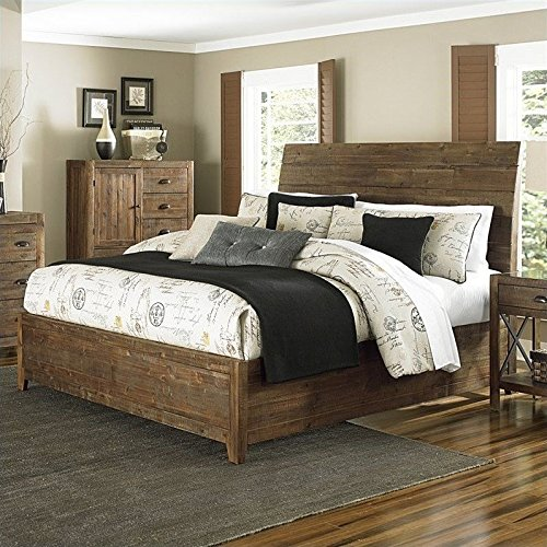 Magnussen River Ridge Wood Island Bed in Natural - King