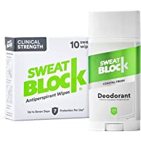 Sweatblock Excessive Sweat and Odor bundle [Clinical Strength Antiperspirant Sweat Wipes and Regular Antiperspirant…