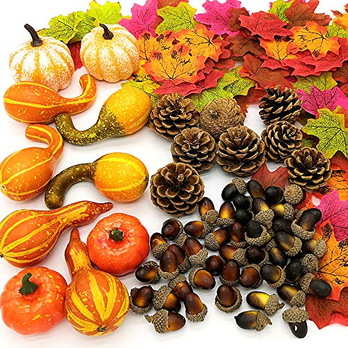 Pumpkin Decorating Kits, 166pcs Artificial Autumn Gourds, Mini Pumpkins, Pine Cones, Maple Leaves, Acorns for Thanksgiving Halloween Harvest Festival Fall Decor